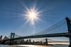 Spanning (nywheels) Tags: manhattanbridge sun sky manhattan buildings brooklyn nyc bigapple thebigapple water grass structures bridge bridges nikon
