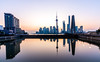 Chinese Dawn (Quentin K) Tags: shanghai china pudong oriental pearl tower reflection travel contrast pink purple city landscape dawn sunrise