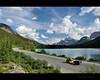 remembering summer (Gordon Hunter) Tags: motorcycle trike vehicle auto trailer travel camping exploring road trip yellow highway lake summer trees forest wilderness clouds sky icefield parkway rockies rocky mountains alberta ab canada gordon hunter nikon d5000 people