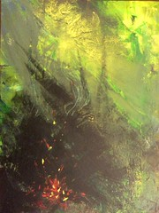 Sparks in the Forest (dreams2digital) Tags: acrylic forest fire campfire forestfire sparks undergrowth
