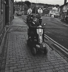 Coming through, stand back (IanAWood) Tags: chesham buckinghamshire thechilterns streetphotography candid menonthestreet disabilitybritain mobilityscooter androidphotography cameraphonephotographer mobilesnaps capturedonp9 huaweip9 editedinsnapseed seenonmytravels notwalkingwithmynikon