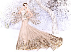 Solstice By Tiffany Designs (lauragenia.viper) Tags: bento chloe eternaldream fabia larahurley lelutka lumipro maitreya secondlife secondlifefashion tiffanydesigns virtual avatar gown formal elegant gold outdoor portrait lady wings guilded angel ethereal