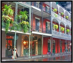 New Orleans  Louisiana - French Quarters ~ Balconies ~ Flower Planters (Onasill ~ Bill Badzo) Tags: newyork usa neworleanscounty neworleans french quarters balcony balconies flower planters la louisiana vieux carre historic district nrhp travel tourist america attractionsite conventions city bienville spanish historical buildings street scene onasill old vintage photo rain storm