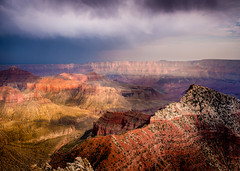 Grand Canyon (andreassofus) Tags: grandcanyon caperoyal northrim arizona america nationalpark landscape grandlandscape nature view viewpoint overlook sky clouds dramatic drama rain thunder thunderstorm light sunlight naturallight nopeople travel travelphotography color colorful mountains mountainscape rocks usa canon manfrottto summer summertime beautiful amazing powerful horizon