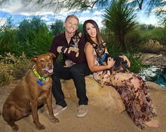 "Cody, Val and the ""kids"" (greyhound rick) Tags: engagement couple dogs pets arizona outdoors nikon pocketwizard sb800 sb910 gilbert gilbertarizona family strobist nikkor"