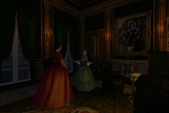 Late gathering (Ludwikamaria) Tags: paris 1850 1850s napoleon louis philippe ier gothic romantic architecture roleplay king roi baronne marquise salon dark afternoon evening candle light antique furniture portrait marie amelie 1830 1840 july monarchy france xixth century 19th ii empire second iii