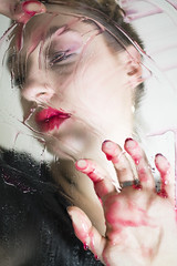 wet (j.raikowski) Tags: wet shower red girl model lips women canon hand scheibe