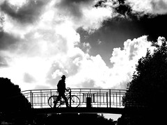 how can I overcome? (René Mollet) Tags: bridge troubled man street streetphotography shadow silhouette streetart streetphotographiebw clouds blackandwhite bw oppie werk is dit zo vg m