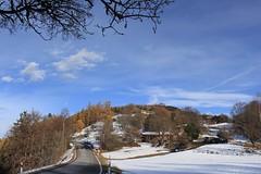 Chemin-Dessus (bulbocode909) Tags: valais suisse montchemin chemindessus villages maisons chalets routes forêts arbres automne montagnes nature nuages branches neige bleu orange paysages