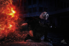 Maya (Nyan) Cosplay  as 2B from Nier:Automata by SpirosK photography: the cutting-through shots (SpirosK photography) Tags: 2b nier automata nierautomata mayanyan spiroskphotography studio photoshoot nikon d750 strobist grey portrait cosplay costumeplay 2bnier composite photoshop mayacosplay night explosion
