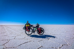 Amanda's bike enjoying the salt flats.