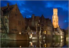 Brugge (tramsteer) Tags: stpancras brugge bruges belgium tramsteer nikon night clouds water canal eu europe belforttower urban
