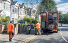 Rubbish & Recycling Collection Day 2 (M C Smith) Tags: rubbish collection recycling green black hivi men truck road signs hill lamps trees parking car houses fences wall lines white yellow sky blue working clouds numbers letters