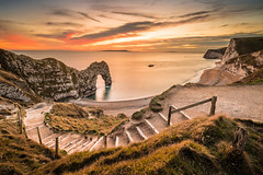 Durdle Door sunset (Nathan J Hammonds) Tags: durdle door dorset uk britain england coast sea sunset steps hdr irex 15mm f24 beach nikon d750 long exposure winter rocks