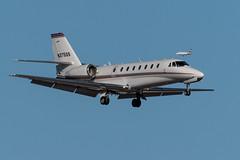 N375QS Citation 680-0230 with N89CE  on approach KLAS (CanAmJetz) Tags: n375qs n89ce bizjets klas las citation falcon