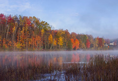 A Cold Morning (T P Mann Photography) Tags: reflections river lake tour color autumn canon t3i tamron red orange yellow fog mist mirror sky skyline horizon still cold morning serene canonflickraward