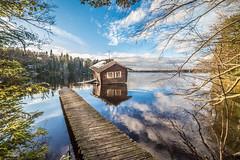 beautiful autumn day (sami kuosmanen) Tags: suomi sky syksy autumn finland forest fun nature north europe luonto light landscape järvi lake maisema värikäs valo reflection heijastus sauna abandoned