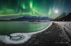 swimming hole 2 (Traylor Photography) Tags: alaska northernlights winter panoarama mountains moon cold wasilla knikriver auroraborealis swimminghole palmer reflection matsu foreground oldglennhighway snow ice unitedstates us