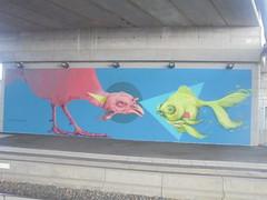 045 (en-ri) Tags: refreshink pesce rosso tacchino goldfish giallo azzurro torino wall muro graffiti writing