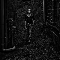 """Wandering Off The Beaten Path, """"Deadly Sins"""", Vienna, Virginia (Gerald L. Campbell) Tags: red streetphotography street squareformat spirituality spiritualindifference socialdocumentary alienation aloneness bw blackwhite blackmale citylife dc dcist digital indifference injustice inequality portrait portraitphotography urban urbanphotography unitedstates virginia wallart yeswecan yearning youth canong7x shockofthenew"""