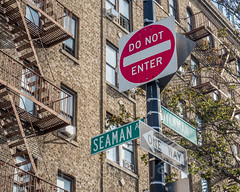 SEAMAN AV and DYCKMAN ST Street Signs, Inwood, New York City (jag9889) Tags: 2017 20171103 architecture building donotenter dyckmanstreet henrybseaman house inwood inwoodite jandyckman manhattan ny nyc newyork newyorkcity oneway outdoor post seamanavenue sign signpost street text tree usa unitedstates unitedstatesofamerica uppermanhattan w200st wahi west200thstreet jag9889