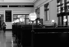 Denver Union Station (YeoMama) Tags: denver union station amtrak seats lights monochrome