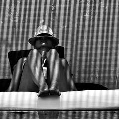 Day in the sun (MyEyeSoul) Tags: nusalembongan bali indonesia sun sunbathing stripes portrait travel asia blackandwhite bw monochrome bikini contrast sunlight model pose bluesky sonyrx10 cherie