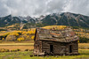 Weathered (Robin-Wilson) Tags: cabin snow fresh autumn aspen clouds mountains old tree pine colorado crestedbutte fallcolors