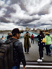 The Scream (Steve Taylor (Photography)) Tags: thescream stars cap backpack stpauls cathedral crane architecture art digital bridge people woman uk gb england greatbritain unitedkingdom london dome perspective texture spring stormy sky cloud millenium