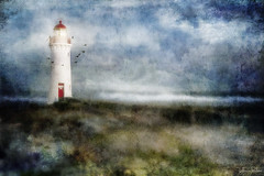 when are you coming home . . . (YvonneRaulston) Tags: surreal australia vic portfairy lighthouse birds sea ocean water grass red door light clouds atmospheric art blue beach creativeartphotography calm colour dream dusk emotive texture peaceful fineartgrunge glow sky lights moody moments photoshopartistry canon sundaylights