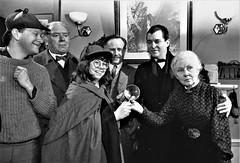 Unidentified gent, Freddie Jones, Jean Upton, Edward Hardwicke, Jeremy Brett, Rosalie Williams (photo courtesy of Jean Upton)