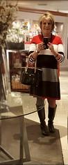 Holiday Shopping (krislagreen) Tags: tg transgender crossdresser cd dress hose boots red white gray black blond femme feminzation feminiztation femininized