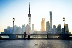 Basking in the Light (Scholesville) Tags: azrinazphotographie azrinaz scholesville asia urban urbanscape cityscape city skyline architecture modern light streaks shanghai china east pudong lujiazui bund sunrise