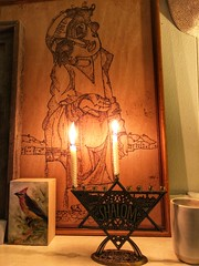 346/365 (moke076) Tags: 2017 365 project 365project project365 oneaday photoaday vsco vscocam iphone cell cellphone mobile hanukah menorah isreal candles burning lit art mantle pyrography wood family bird painting hanukkah chanukah 1st night 1 first flame holiday jewish artwork house living room
