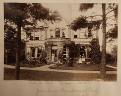 Mystery Victorian house and family (whatsthatpicture) Tags: albumen family house familyportrait victorian garden cricketbat tennisracket modelsailingboat