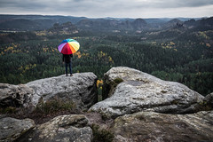 Rainbow Umbrella (Fabian Fortmann) Tags: elbsandstein sächsischeschweiz sachsen germany deutschland rainbow umbrella saxon switzerland rainy foggy dark cloudy moody regenschirm
