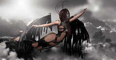 Reach the paradise (meriluu17) Tags: poseidon ange angel angle wing wings surreal fantasy magical cloud clouds sky dark leather black outdoor people pose fly flying latex