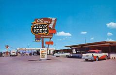 Postcard - Allison's Steak House, Gila Bend, AZ - 1950's (kocojim) Tags: servicestation steakhouse postcard texaco restaurant kocojim sign newmexico nm neon gilabend arizona unitedstates us