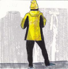 # 216 2017-11-30 (h e r m a n) Tags: herman illustratie tekening 10x10cm tegeltje drawing illustration karton carton cardboard kunst art back rug rucke ruggenfiguur ruckenfigur vrouw woman hat muts cap geel yellow mode fashion