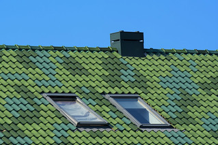 Roof with green tiles