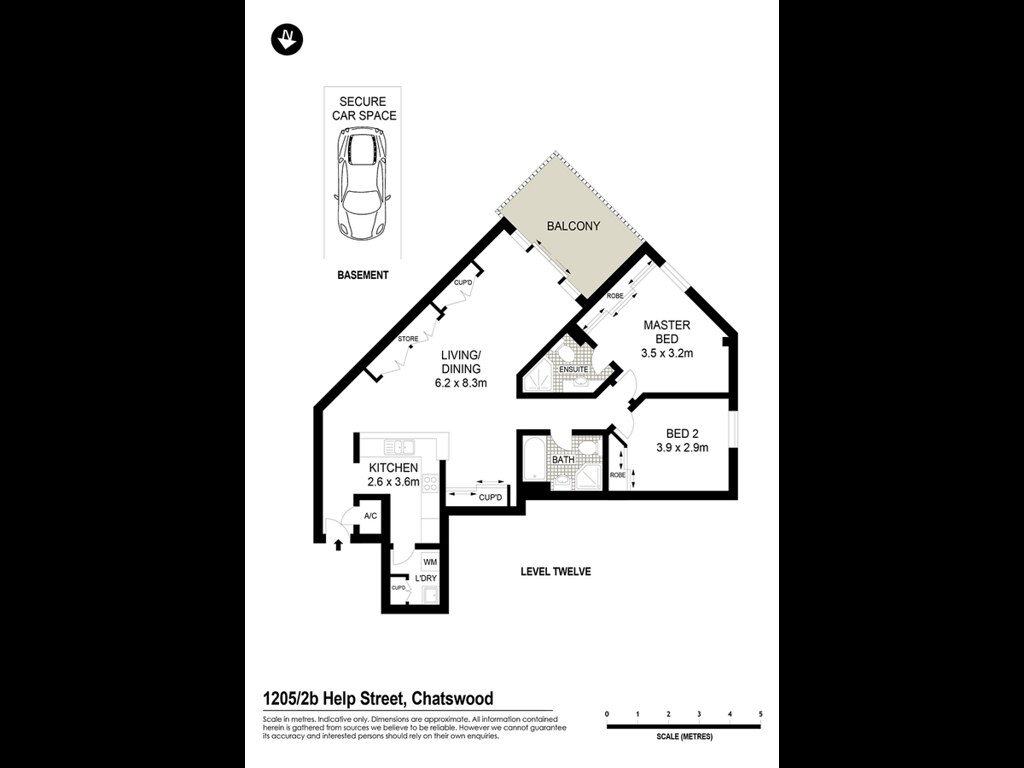 1205/2B Help Street floorplan