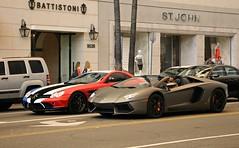 Mercedes-Benz SLR McLaren, Lamborghini Aventador LP700-4 Roadster (SPV Automotive) Tags: mercedesbenz slr mclaren coupe lamborghini aventador lp7004 roadster convertible exotic sports car supercar cars supercars red white blue matte grey