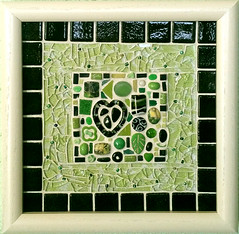 green and black finished (toadranchlady) Tags: mosaicart mixedmediamosaic temperedglass stainedglass foundobjects