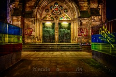 entrance (blende9komma6) Tags: hannover nordstadt germany nikon d7100 entrance eingang hdr church kirche graffiti portal night nacht active door window color lutherkirche luther