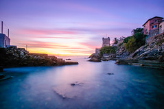 Castle on the seaside (Fili1939) Tags: italy italia sunset sun sky cloud orange long shutter castle water sea ocean mediterranean tower swim fish genoa genova nervi boulevard nikon ngc national geographic d300 wide angle