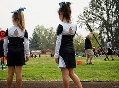 Cheering in Molalla (pete4ducks) Tags: molalla oregon mady brooklyn madelyn football cheer cheerleaders on1pics cheerleading sport bows kids girls children 2017 sonyalpha raw mirrorless cropped referee 500views