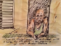 Smile (Mark Bonica) Tags: man old smile wwindow sharpie sketch watercolor