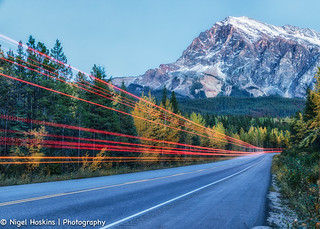 Light trails along Route 93 - Icefields Parkway