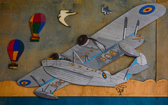 Flying (Steve Taylor (Photography)) Tags: balloon parachute flyingboat 590 606 k mural art streetart bird gull seagull wood plywood wooden uk gb england greatbritain unitedkingdom london plane aeroplane aircraft bricklane e1 seaplane transport flying