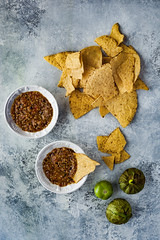 Roasted Tomatillo Salsa (saraghedina) Tags: tomatillo mexican salsa chips foodphotography foodstyling vegan vegetarian vegetables plantpower plantbaseddiet appetizer party canon 50mm verticalcomposition instudioshot nopeople stilllife texture jalapeno chili pepper
